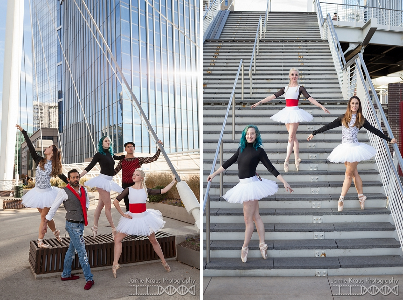 creative dance photography at Denver millennium bridge