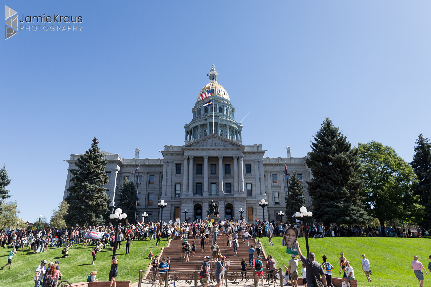 Colorado capitol building during global climate march
